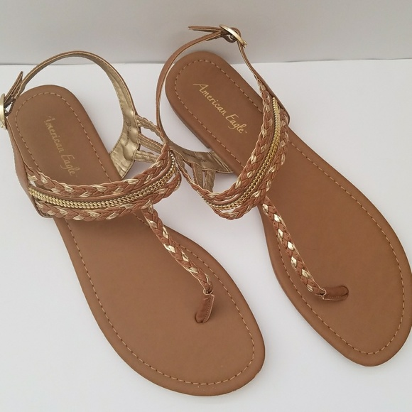 bc37b520df1ad9 American Eagle By Payless Shoes - Sz 13 Sandals Tan   Gold Braided Women s  Shoes